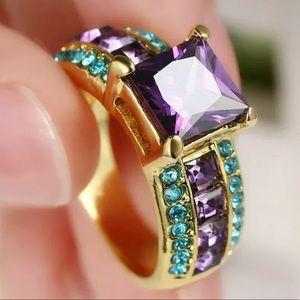 Women 18 K Gold Filled Amethyst ring